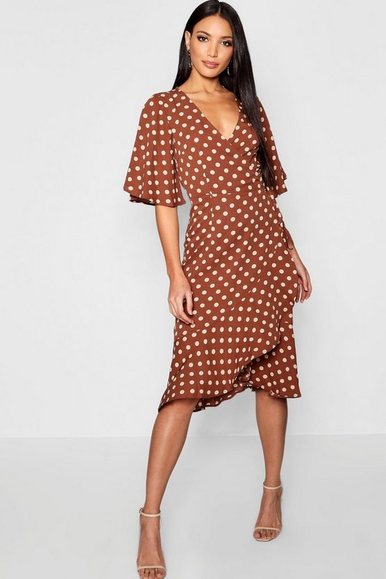 Wrap Front Ruffle Hem Polka Dot Midi Dress