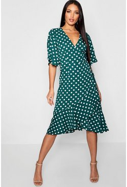 Womens Wrap Front Ruffle Hem Polka Dot Midi Dress
