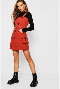 Womens Brick Button Through Cargo Pocket Pinafore Dress
