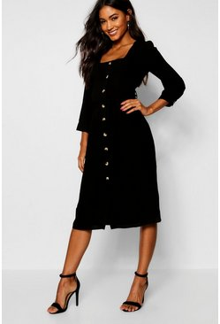 Womens Black Square Neck Button Front Shift Dress
