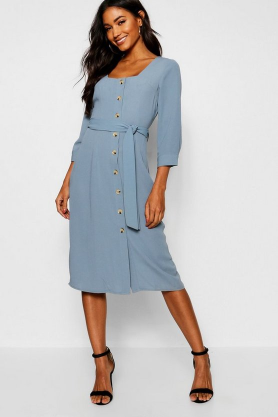 Square Neck Button Front Shift Dress