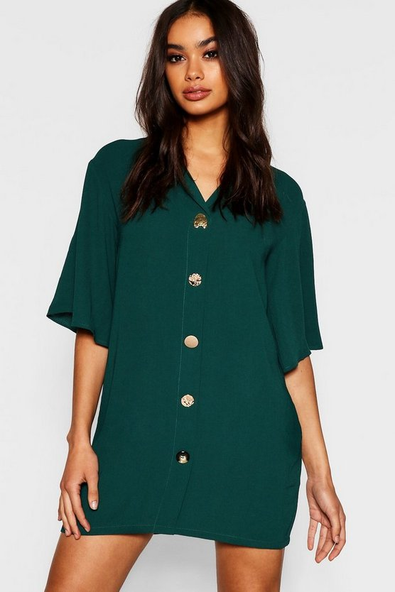 Mixed Button Oversized Shirt Dress