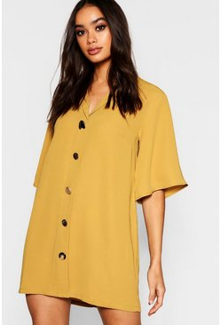 Womens Mixed Button Oversized Shirt Dress