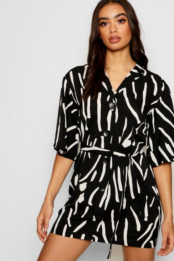Oversized Printed Button Front Shirt Dress