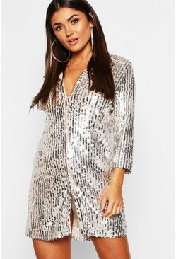 Dam Silver Sequin Oversized Shirt Dress