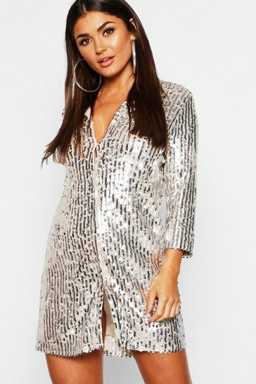 Womens Silver Sequin Oversized Shirt Dress