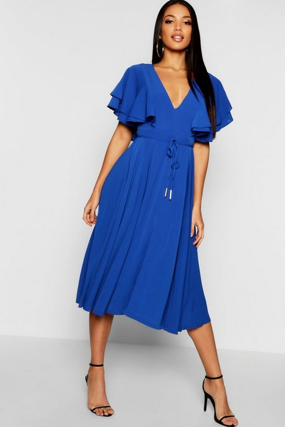 Womens Royal Ruffle Angel Sleeve Midi Dress