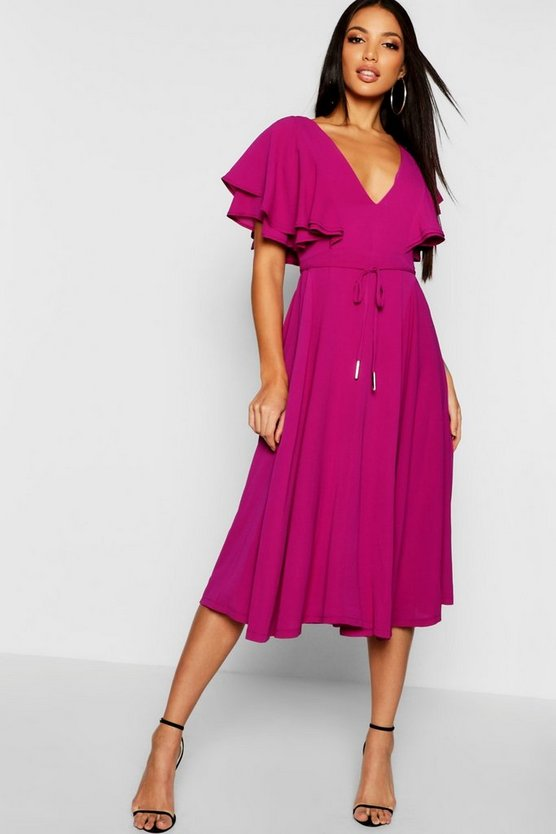Ruffle Angel Sleeve Midi Dress