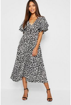 Womens Black Leopard Print Ruffle Angel Sleeve Midi Dress