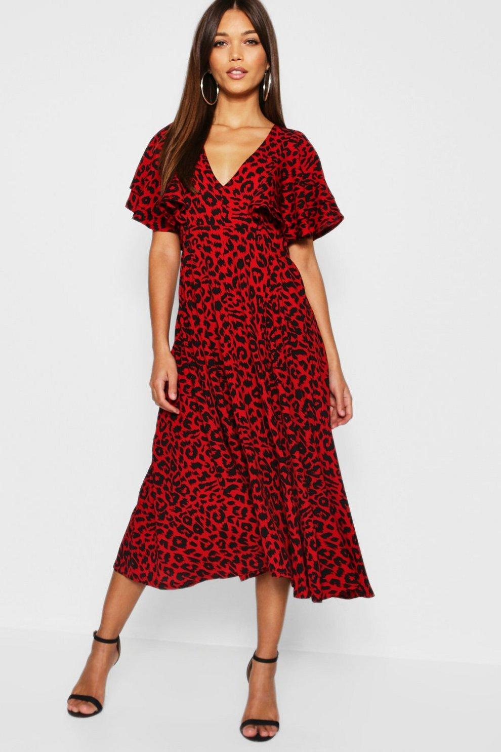 15244b4b5499f Leopard Print Ruffle Angel Sleeve Midi Dress   Boohoo