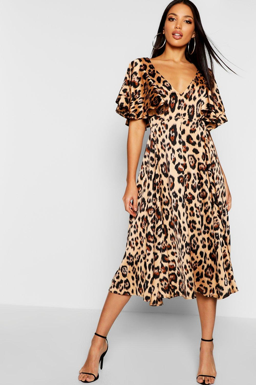 65c4fe9a3c29b Womens Leopard Leopard Matte Satin Ruffle Angel Sleeve Midi Dress. Hover to  zoom