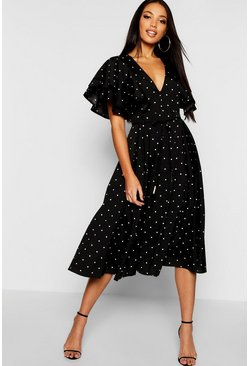 Womens Black Mini Polka Dot Ruffle Angel Sleeve Midi Dress