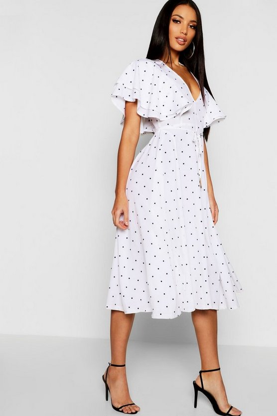Ivory Mini Polka Dot Ruffle Angel Sleeve Midi Dress