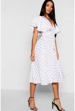 Womens Ivory Mini Polka Dot Ruffle Angel Sleeve Midi Dress