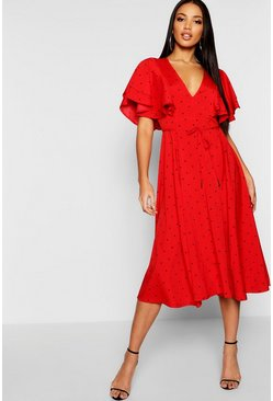 Womens Red Mini Polka Dot Ruffle Angel Sleeve Midi Dress