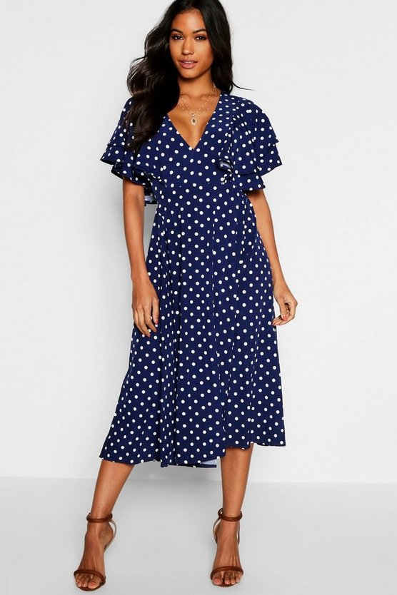 Polka Dot Ruffle Angel Sleeve Midi Dress