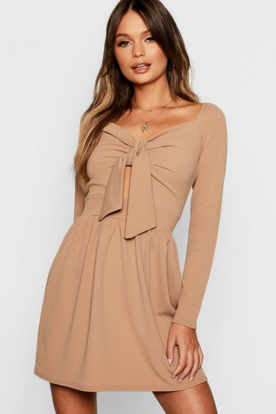 Womens Toffee Long Sleeve Knot Front Mini Skater Dress