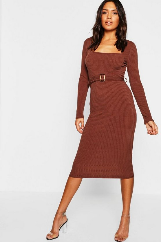 Tortoise Shell Buckle Ribbed Midi Dress