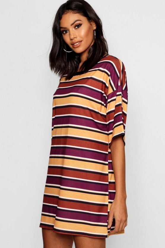 Autumnal Stripe Oversized T-Shirt Dress