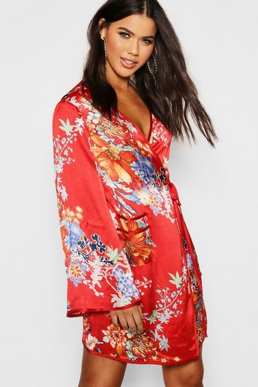 Womens Red Piped Oriental Satin Wrap Mini Dress