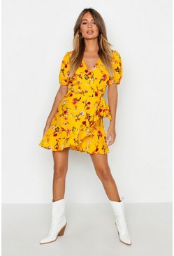 Womens Mustard Floral Wrap Skater Dress