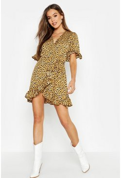 Womens Brown Ruffle Leopard Print Dress
