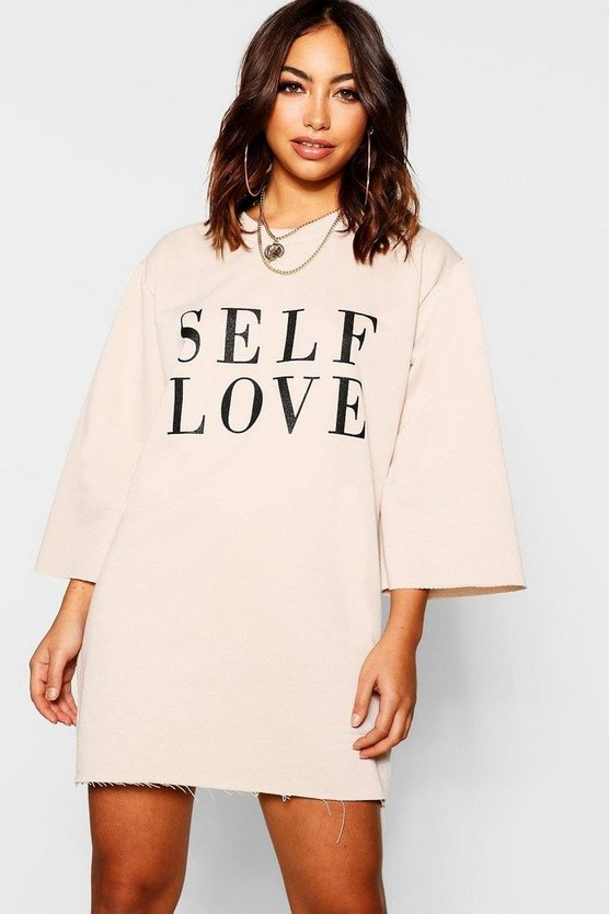Womens Ecru Self Love Raw Edge Sweatshirt Dress