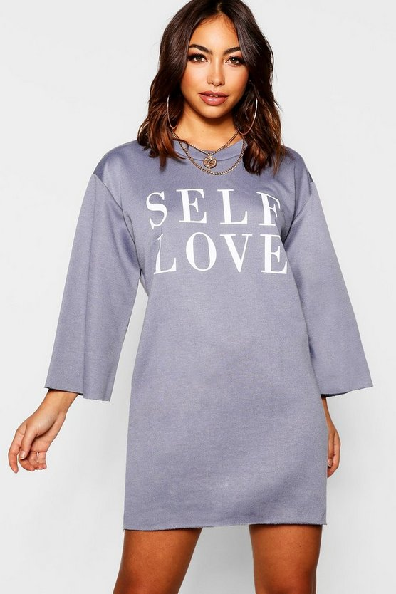 Self Love Raw Edge Sweatshirt Dress