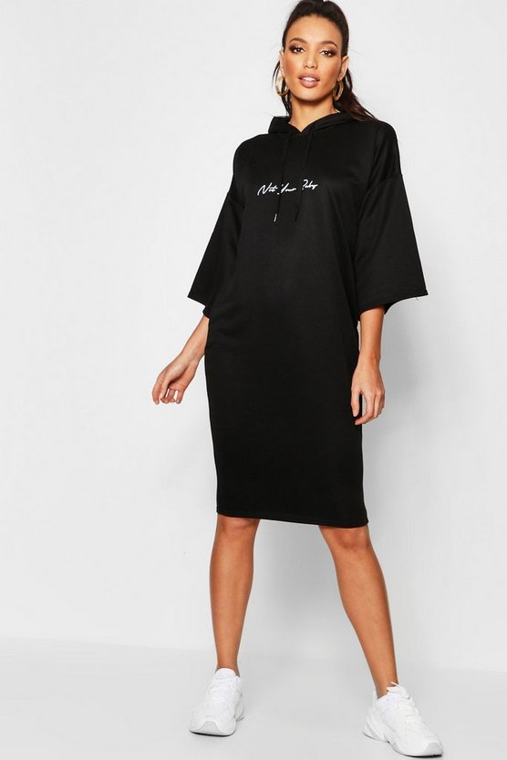 Womens Black Not Your Baby Hooded Midi Sweatshirt Dress