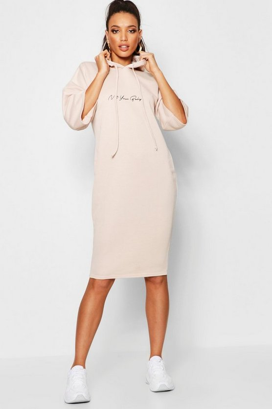 Not Your Baby Hooded Midi Sweatshirt Dress