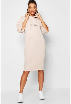 Womens Ecru Not Your Baby Hooded Midi Sweatshirt Dress