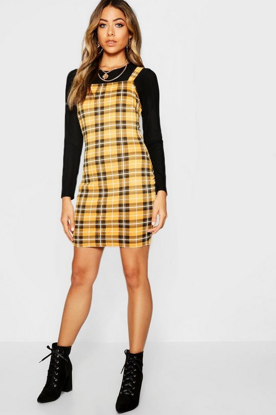 Womens Yellow Yellow Check Square Neck Bodycon Dress
