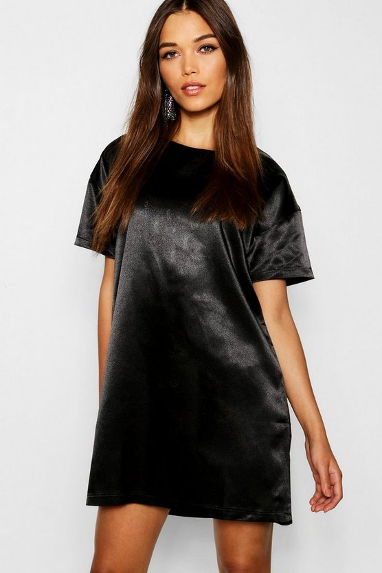 Womens Black Satin Short Sleeve Shift Dress