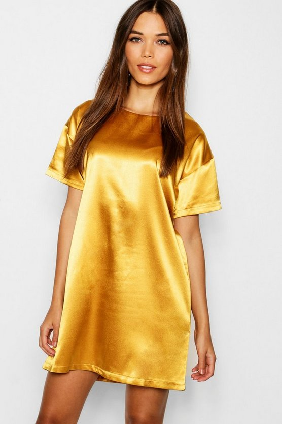 Satin Short Sleeve Shift Dress