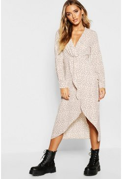 Womens Stone Polka Dot Wrap Knot Front Midaxi Shirt Dress