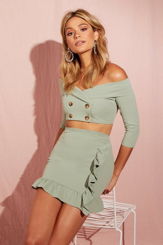 Double Breasted Crop + Ruffle Skirt Co-Ord