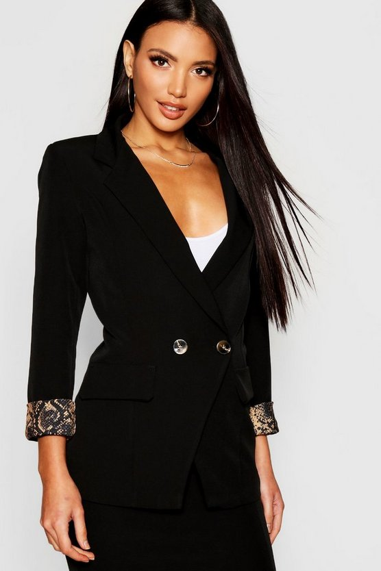 Womens Black Snake Print Cuff Double Breasted Blazer
