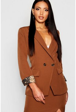 Womens Chocolate Snake Print Cuff Double Breasted Blazer