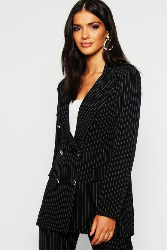 Womens Black Woven Pinstripe Double Pocket Button Blazer