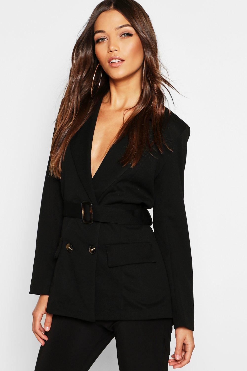 Belted Double Breasted Blazer