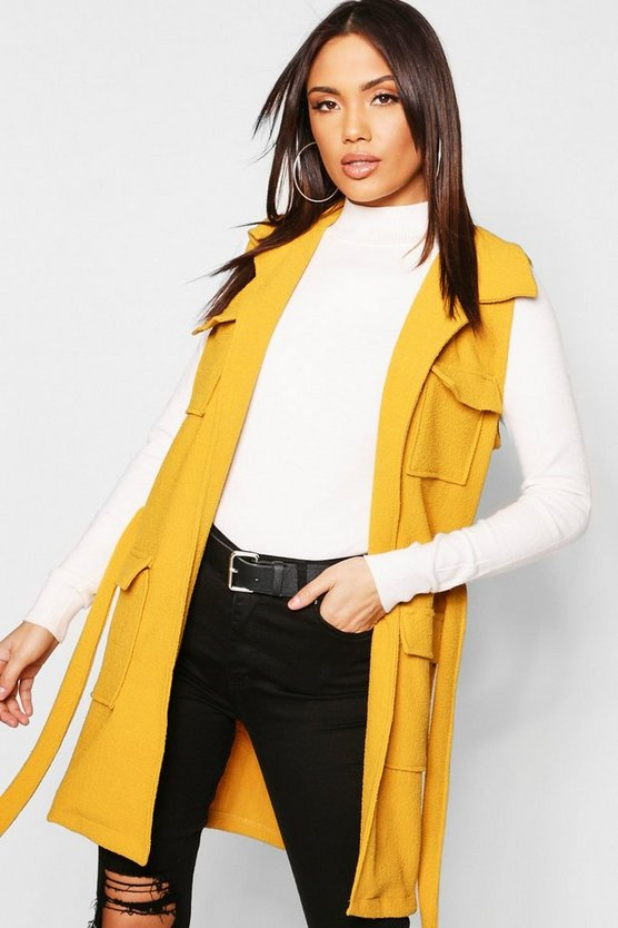 Womens Mustard Boucle Double Pocket Belted Jacket
