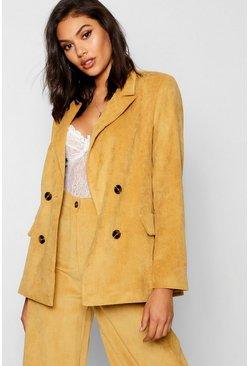 Womens Mustard Baby Cord Double Breasted Jacket