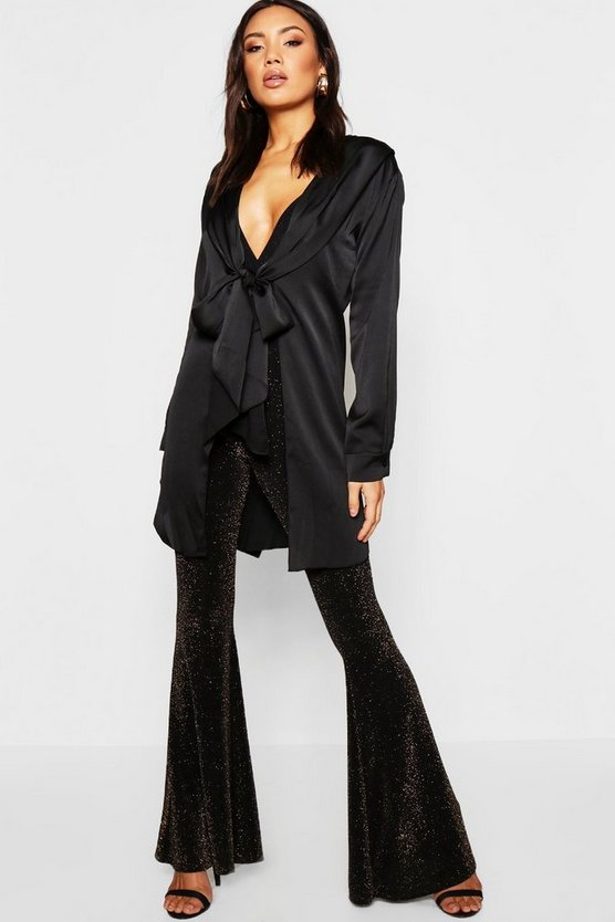 Womens Black Satin Tie Front Longline Duster