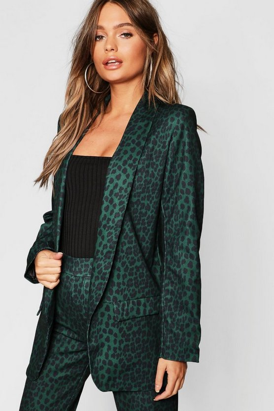 Womens Green Leopard Tailored Blazer