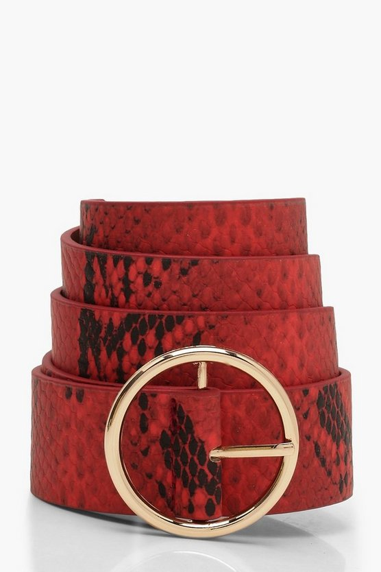 Womens Red Faux Snake Print Circle Belt