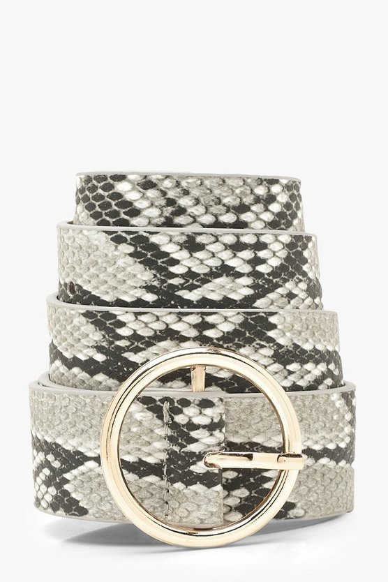 Womens Black Faux Snake Print Circle Belt
