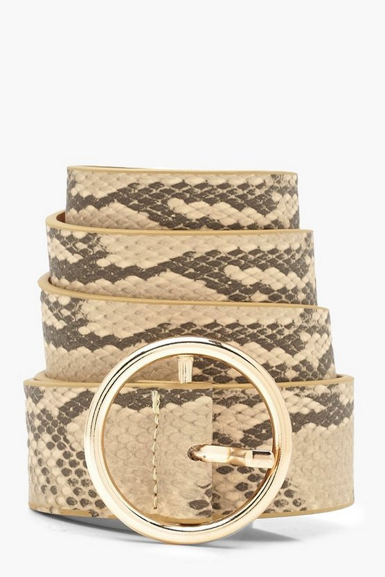 Womens Natural Faux Snake Print Circle Belt