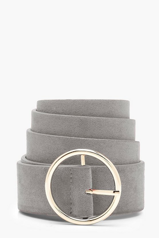Womens Grey Suedette Circle Buckle Belt