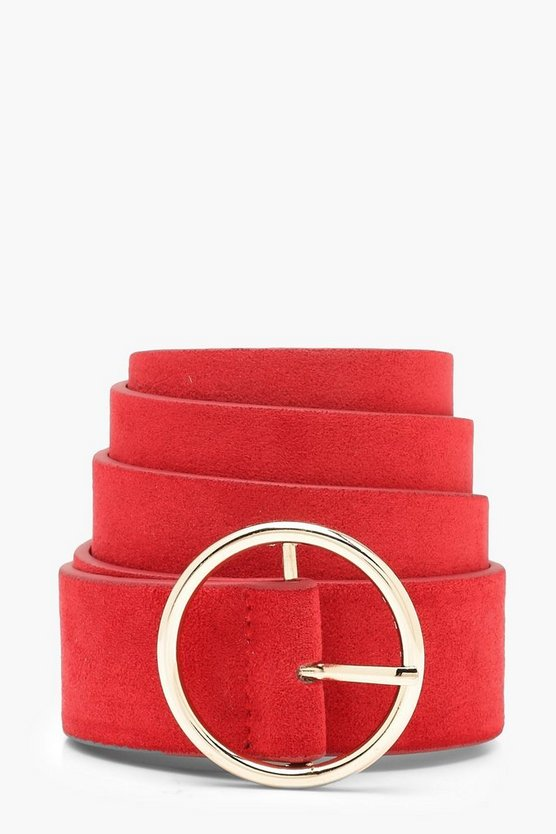 Suedette Circle Buckle Belt