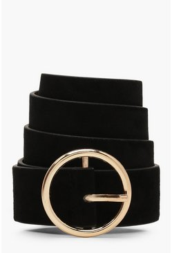 Black Suedette Circle Buckle Belt